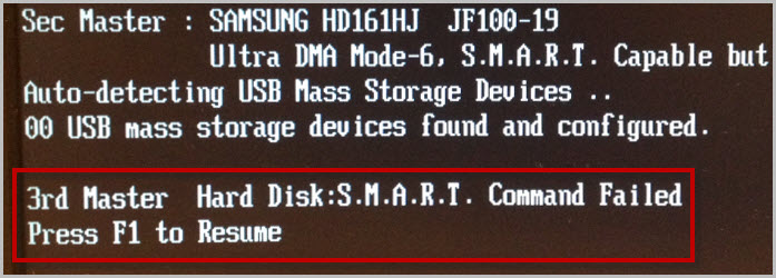 3rd master hard disk s.m.a.r.t command failed press f1 to resume