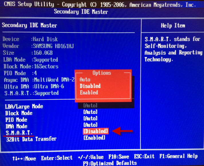 hard disk smart command failed